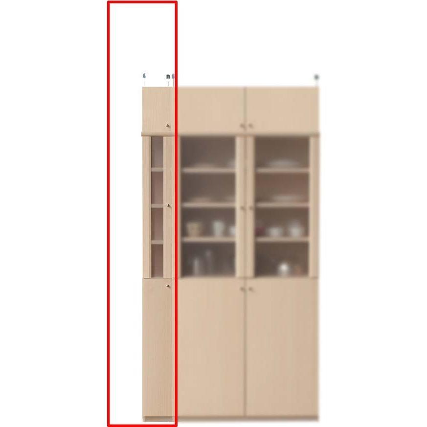 半透明扉付スリム食器棚 キッチンラック 高さ208〜217cm幅15〜24cm奥行31cm厚棚板(棚板厚2.5cm)