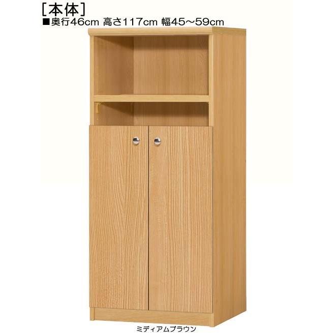 下部扉 書庫 書庫 高さ117cm幅45〜59cm奥行46cm厚棚板(棚板厚み2.5cm) 下扉高さ72.5cm 文庫本ラック 和室