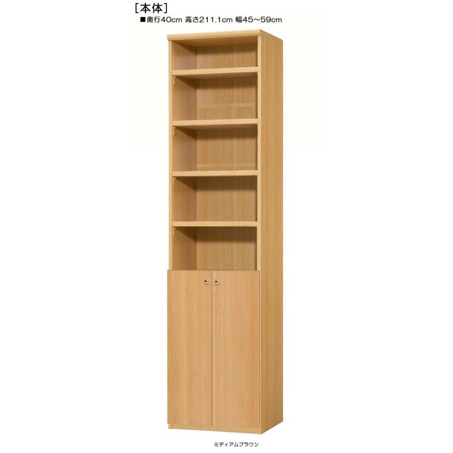 下部扉 大収納ラック 高さ211.1cm幅45〜59cm奥行40cm厚棚板(棚板厚み2.5cm) 下扉高さ80.8cm オーディオラック 図書コーナー