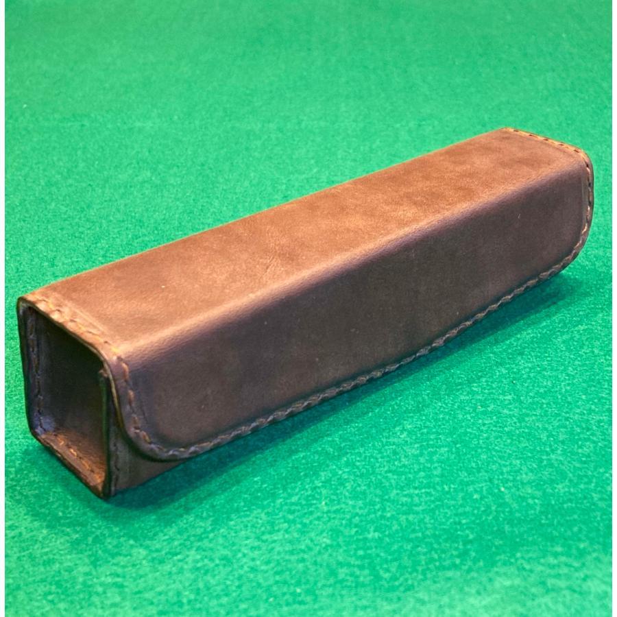 本革製メガネケース(ボックスタイプ/焦茶)|wizard-leather