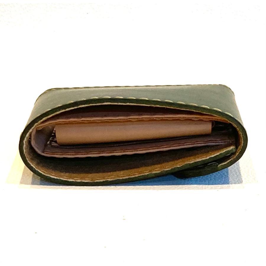 本革製ハーフ・ウォレット(カーキ)|wizard-leather|04