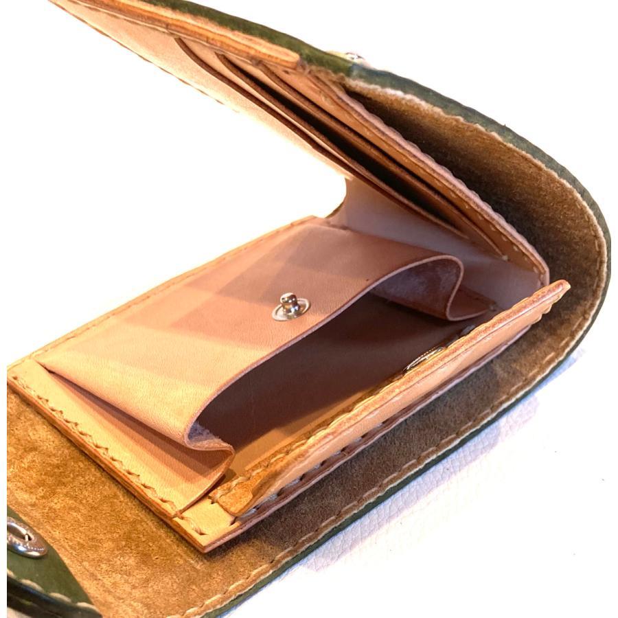 本革製ハーフ・ウォレット(カーキ)|wizard-leather|06