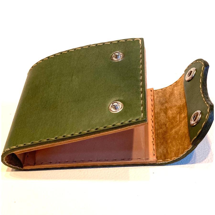 本革製ハーフ・ウォレット(カーキ)|wizard-leather|09