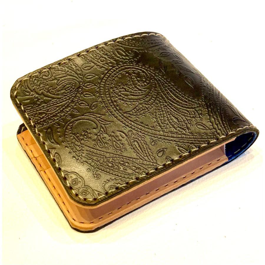 本革製ハーフ・ウォレット(ペイズリー/ネイビー)|wizard-leather