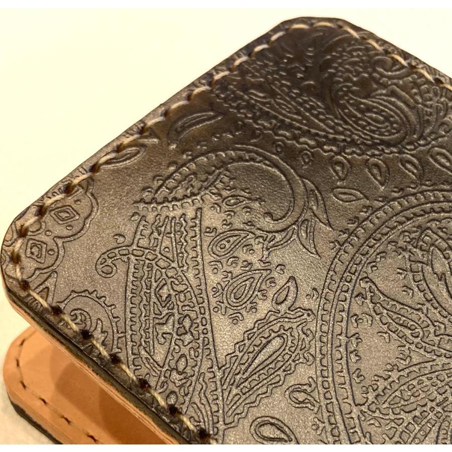 本革製ハーフ・ウォレット(ペイズリー/ネイビー)|wizard-leather|11