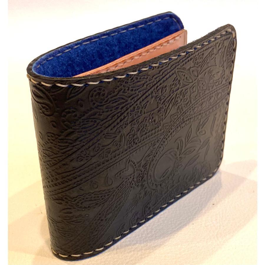 本革製ハーフ・ウォレット(ペイズリー/ネイビー)|wizard-leather|04