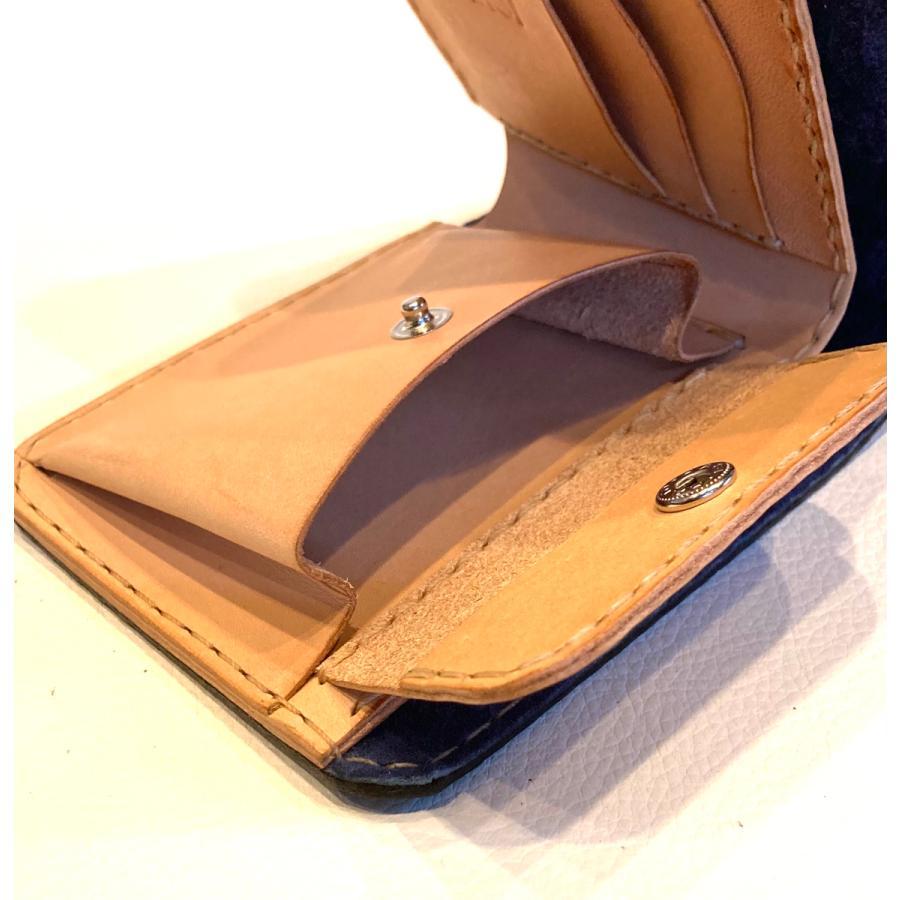 本革製ハーフ・ウォレット(ペイズリー/ネイビー)|wizard-leather|07
