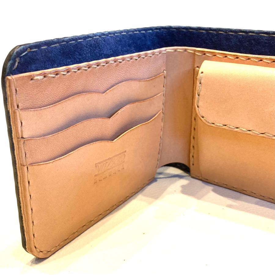 本革製ハーフ・ウォレット(ペイズリー/ネイビー)|wizard-leather|09