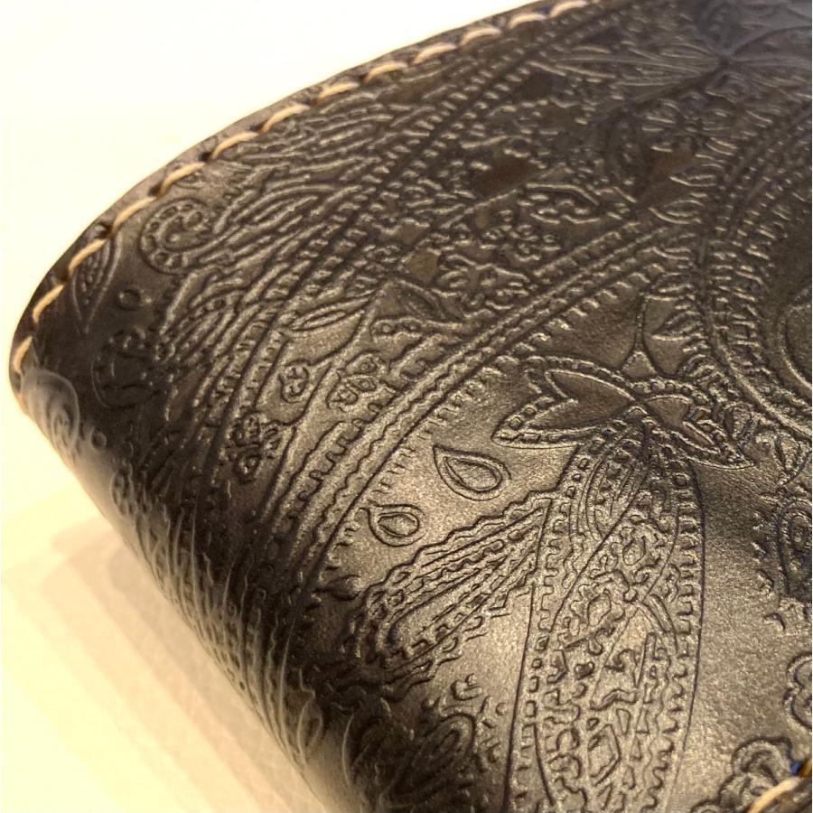 本革製ハーフ・ウォレット(ペイズリー/ネイビー)|wizard-leather|10