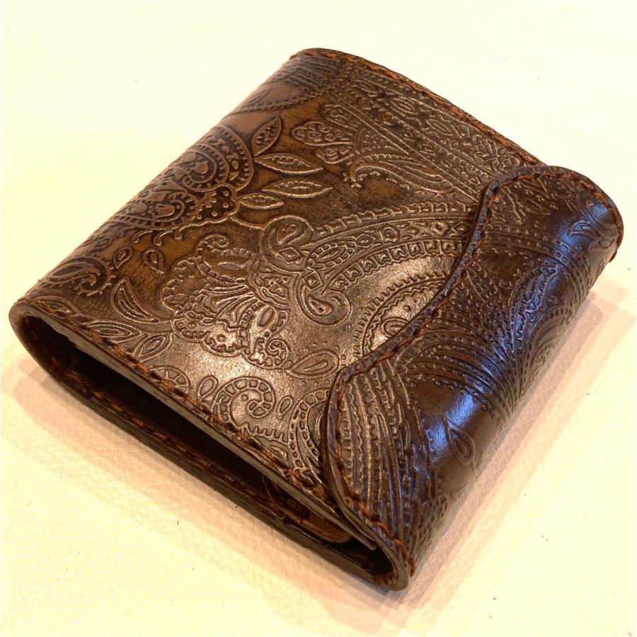 本革製ハーフ・ウォレット(ペイズリー/焦茶) wizard-leather