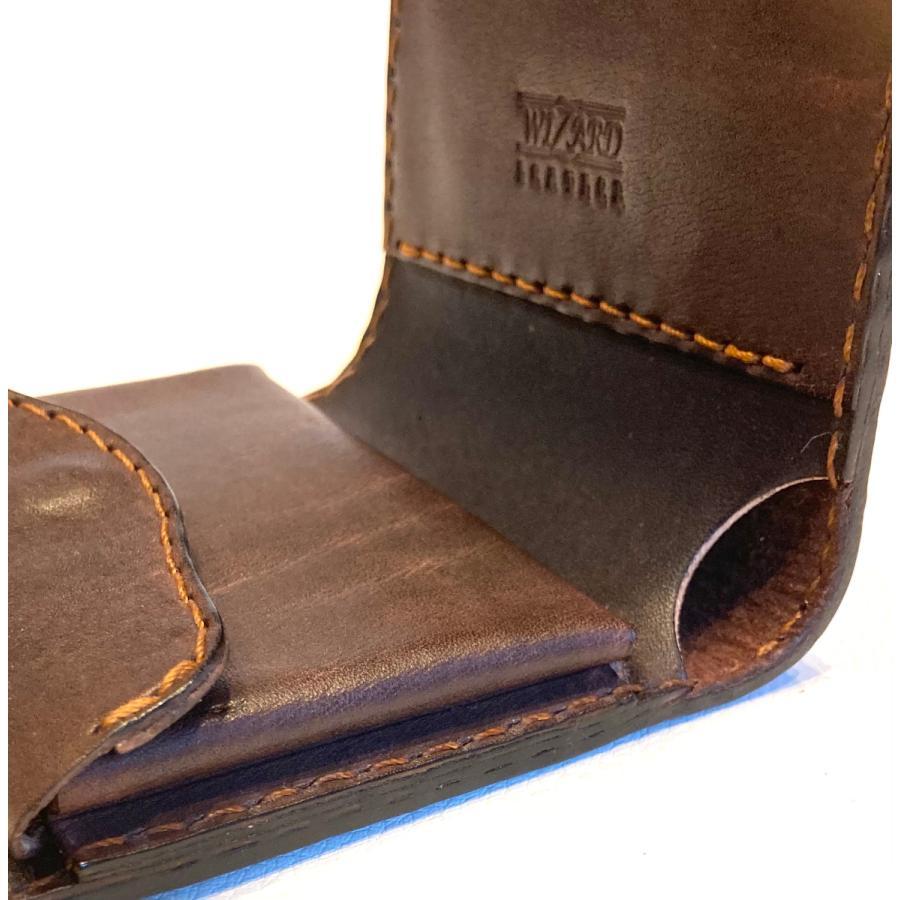 本革製ハーフ・ウォレット(ペイズリー/焦茶) wizard-leather 11