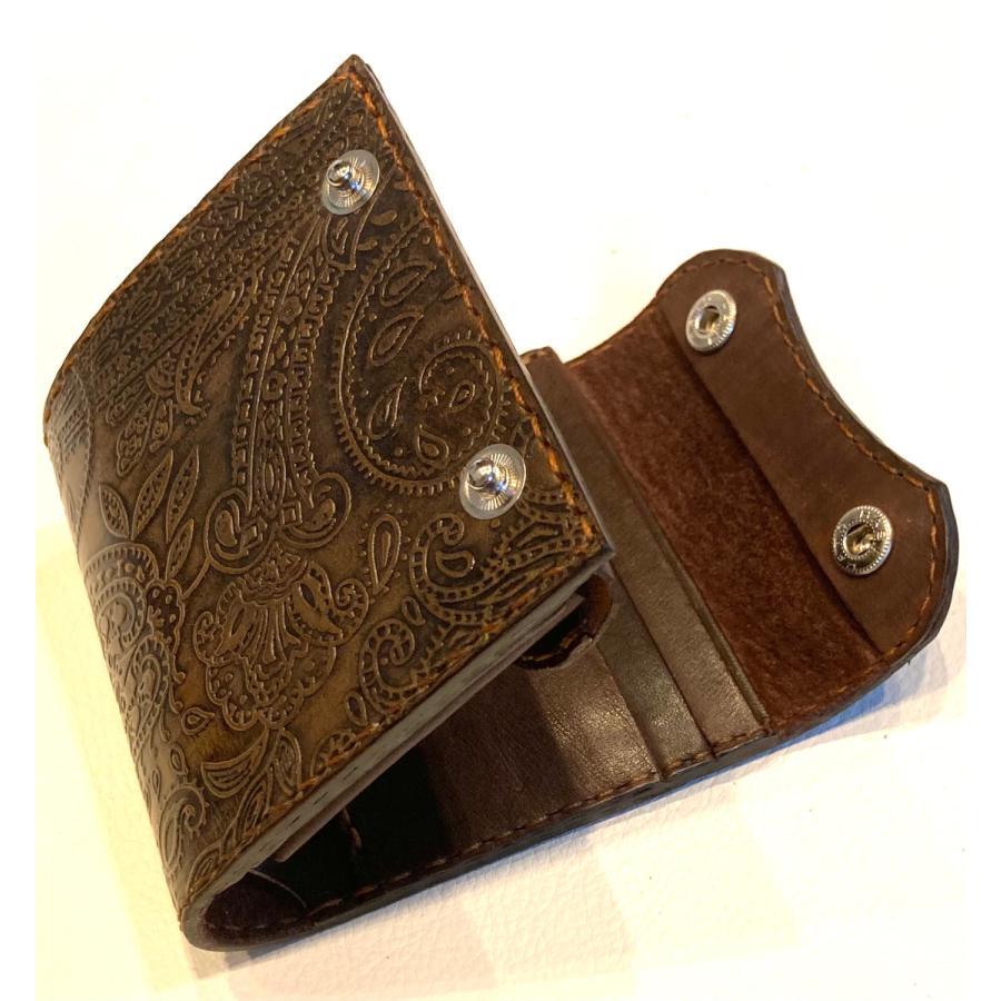 本革製ハーフ・ウォレット(ペイズリー/焦茶) wizard-leather 12