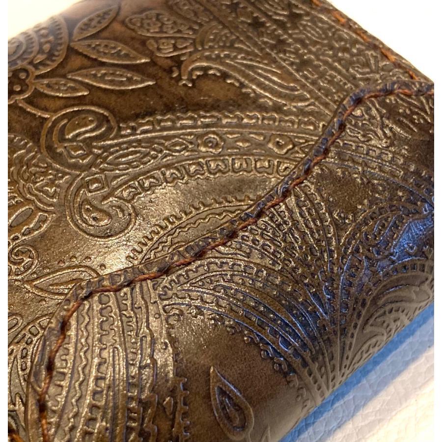 本革製ハーフ・ウォレット(ペイズリー/焦茶) wizard-leather 06