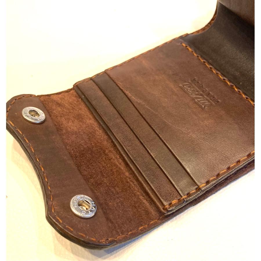 本革製ハーフ・ウォレット(ペイズリー/焦茶) wizard-leather 08
