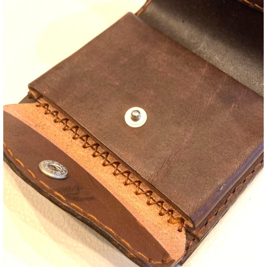 本革製ハーフ・ウォレット(ペイズリー/焦茶) wizard-leather 10