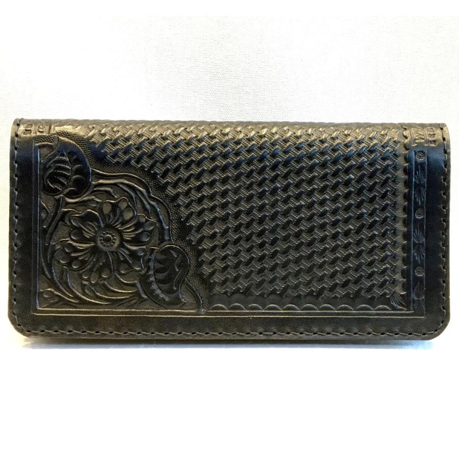 ロング・ウォレット(黒革/カービング)|wizard-leather