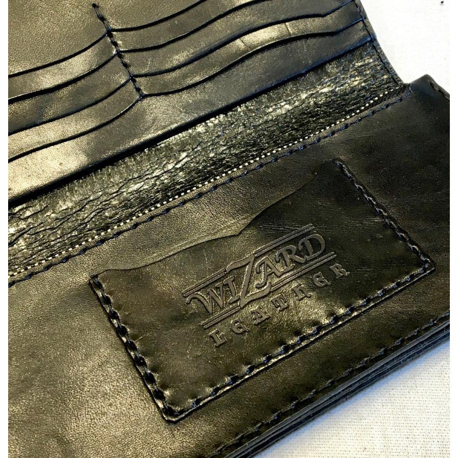 ロング・ウォレット(黒革/カービング)|wizard-leather|05