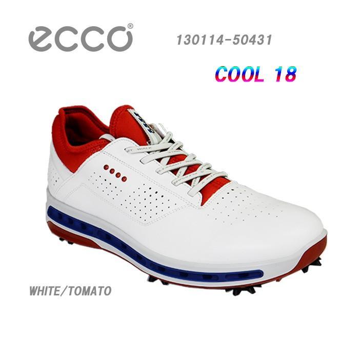 ゴルフシューズ エコー 17年モデル 130114-50431 COOL18 ECCO GOLF 白い/TOMATO