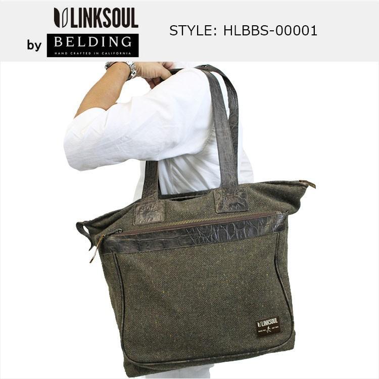 LINKSOUL by BELDING | リンクソウル バイ ベルディング トートバッグ- ブラウンレザー/ブラウンヘリンボーン HLBBS-000