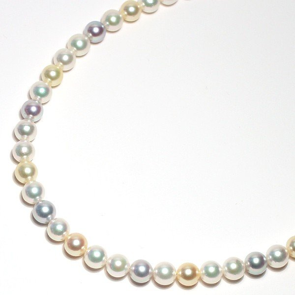 マルチカラーパールネックレス オールナチュラル色染めでない色アコヤ真珠7.5-8mmネックレスSVクラスプ|wizem