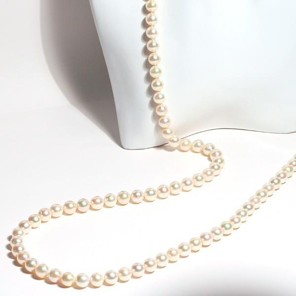 ナチュラル色アコヤ真珠ロングネックレス7.5-8mmイエローゴールド色最長約88cm染めでないナチュラル色アレンジ可能なシルバーエクラ wizem 02