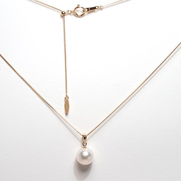 定番K18パールペンダントあこや真珠8.7mm〜8.9mm長さが変えられる45cmK18ベネチアン0.6チェーン付誕生石6月日本製ギフトラッピング wizem 06