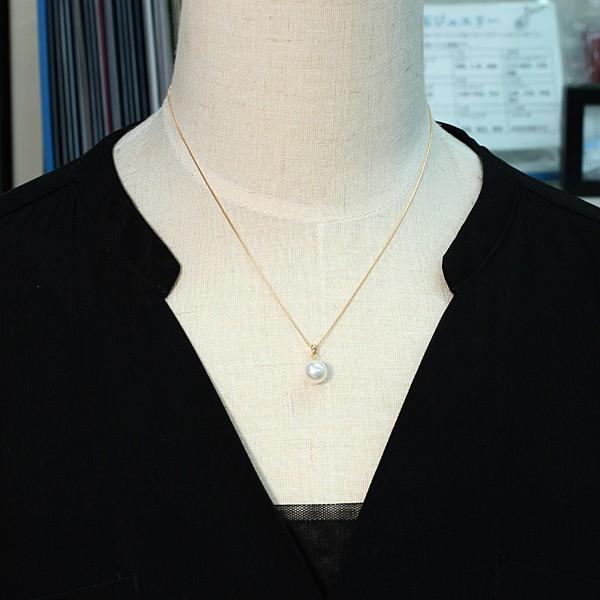 定番K18パールペンダントあこや真珠8.7mm〜8.9mm長さが変えられる45cmK18ベネチアン0.6チェーン付誕生石6月日本製ギフトラッピング wizem 07