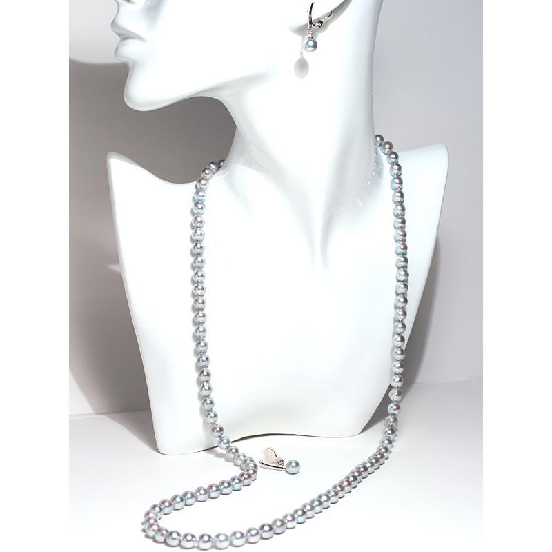 ブルー系色ロングネックレスとイヤリング2点セット バロック形あこや真珠7-7.5mm75cmロングネックレス 7.3mm揺れる微調整可シルバー製イヤリング|wizem