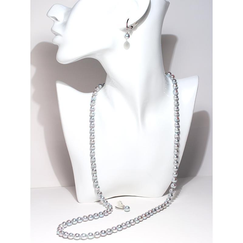 ブルー系色ロングネックレスとイヤリング2点セット バロック形あこや真珠7-7.5mm75cmロングネックレス 7.3mm揺れる微調整可シルバー製イヤリング|wizem|02