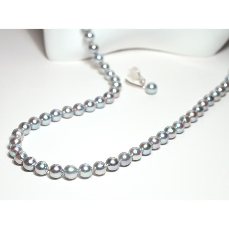 ブルー系色ロングネックレスとイヤリング2点セット バロック形あこや真珠7-7.5mm75cmロングネックレス 7.3mm揺れる微調整可シルバー製イヤリング|wizem|03