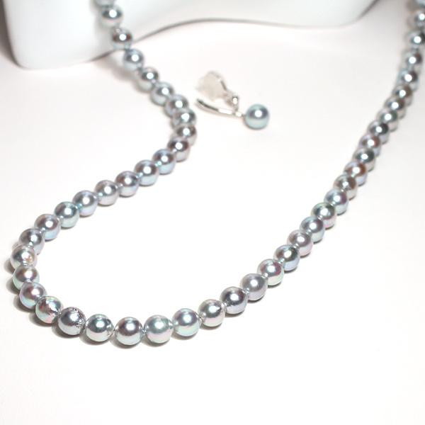 ブルー系色ロングネックレスとイヤリング2点セット バロック形あこや真珠7-7.5mm75cmロングネックレス 7.3mm揺れる微調整可シルバー製イヤリング|wizem|04