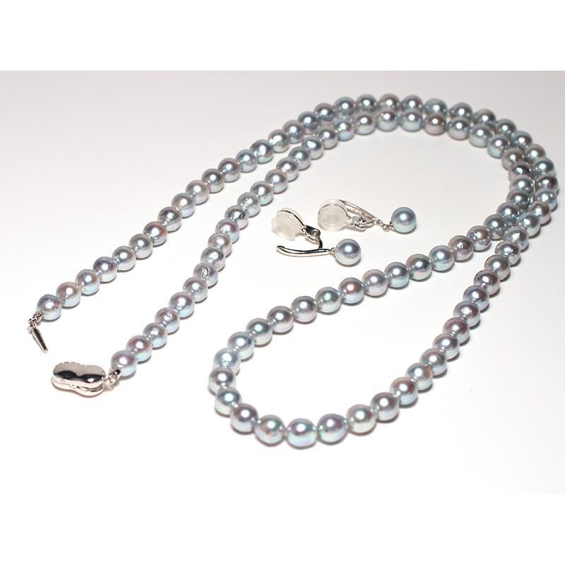 ブルー系色ロングネックレスとイヤリング2点セット バロック形あこや真珠7-7.5mm75cmロングネックレス 7.3mm揺れる微調整可シルバー製イヤリング|wizem|06