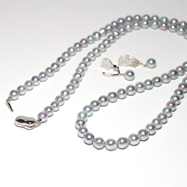 ブルー系色ロングネックレスとイヤリング2点セット バロック形あこや真珠7-7.5mm75cmロングネックレス 7.3mm揺れる微調整可シルバー製イヤリング|wizem|07