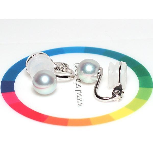 青色を帯びたシルバー色のパールイヤリングあこや真珠7.7mmUP SILVERソフトタッチ微調整可痛くないイヤリング 着色 冠婚葬祭 卒業式|wizem|05