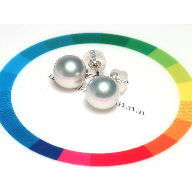 青色帯びたシルバーグレー色のパールスタッドピアス あこや真珠幅7.9mm K14WGホワイトゴールド製直結ピアス |wizem|02