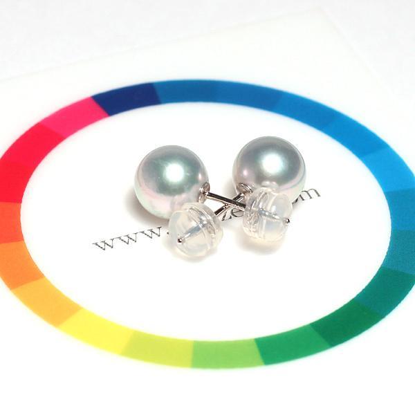 青色帯びたシルバーグレー色のパールスタッドピアス あこや真珠幅7.9mm K14WGホワイトゴールド製直結ピアス |wizem|03