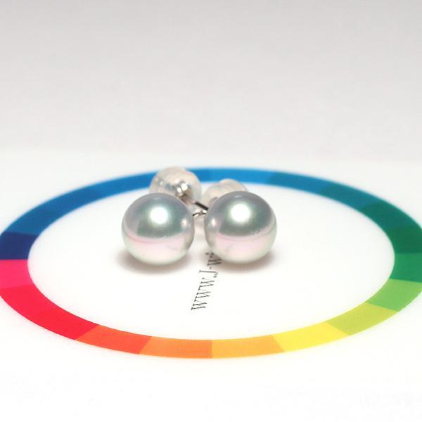 青色帯びたシルバーグレー色のパールスタッドピアス あこや真珠幅7.9mm K14WGホワイトゴールド製直結ピアス |wizem|05