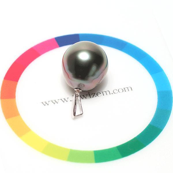 ブラックパールパールペンダントトップ黒蝶真珠幅13mm縦12.2mmPT900プラチナ製ほんのりレッド赤色をまとったお色がきれい wizem 04