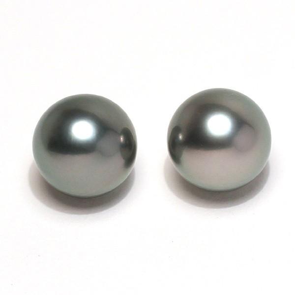 ブラックパールルース黒蝶真珠ラウンド形9.3mm2珠 加工用に片穴開け済み イヤリングヤピアス用材料|wizem