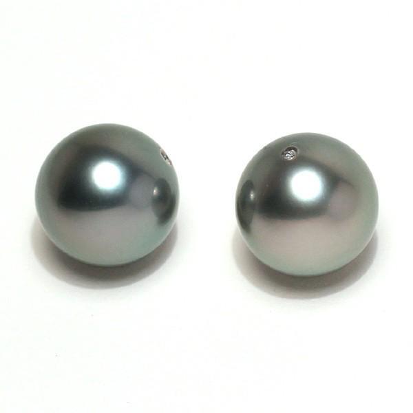 ブラックパールルース黒蝶真珠ラウンド形9.3mm2珠 加工用に片穴開け済み イヤリングヤピアス用材料|wizem|02
