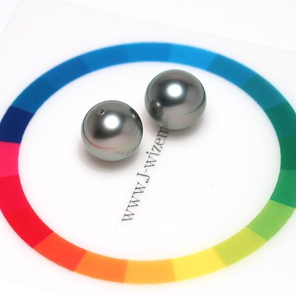 ブラックパールルース黒蝶真珠ラウンド形9.3mm2珠 加工用に片穴開け済み イヤリングヤピアス用材料|wizem|03