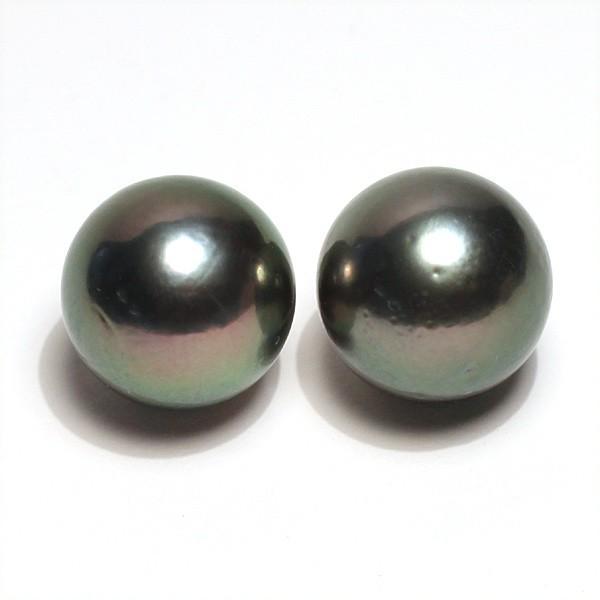 ブラックパールルース黒蝶真珠直径12.5mm2珠 テリ良い真珠表面に肌荒れあり|wizem|04