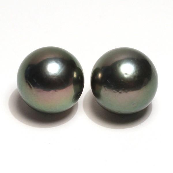 ブラックパールルース黒蝶真珠直径12.5mm2珠 テリ良い真珠表面に肌荒れあり|wizem|05