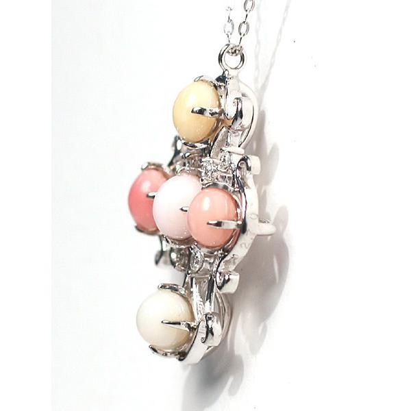 コンクパールネックレス オリジナルクロスデザインプラチナ製5ピースで2.7ct 希少な天然真珠|wizem|03