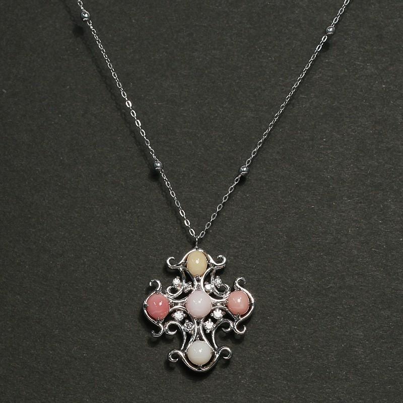 コンクパールネックレス オリジナルクロスデザインプラチナ製5ピースで2.7ct 希少な天然真珠|wizem|05