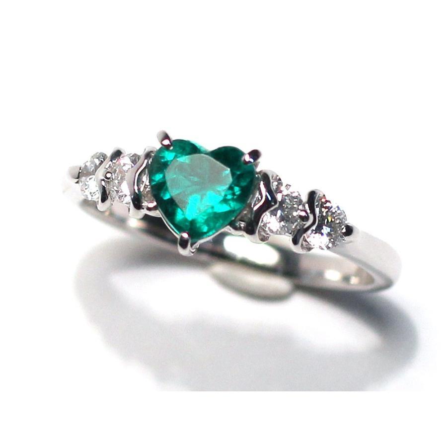 ハートシェイプエメラルド0.76ctプラチナダイヤモンドリング指輪サイズ14 中央宝石研究所の宝石鑑別書付属 コロンビア産  wizem