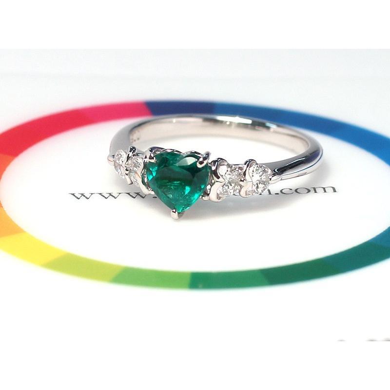 ハートシェイプエメラルド0.76ctプラチナダイヤモンドリング指輪サイズ14 中央宝石研究所の宝石鑑別書付属 コロンビア産  wizem 03
