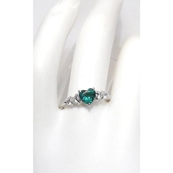 ハートシェイプエメラルド0.76ctプラチナダイヤモンドリング指輪サイズ14 中央宝石研究所の宝石鑑別書付属 コロンビア産  wizem 04