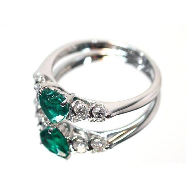 ハートシェイプエメラルド0.76ctプラチナダイヤモンドリング指輪サイズ14 中央宝石研究所の宝石鑑別書付属 コロンビア産  wizem 05