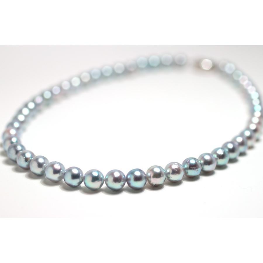 パールネックレス ナチュラルブルー色アコヤ真珠8.0-8.5mmネックレス セミラウンド形〜バロック形 wizem 02
